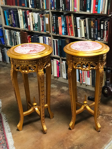Pair of Gilded Marble Top Fern Stands
