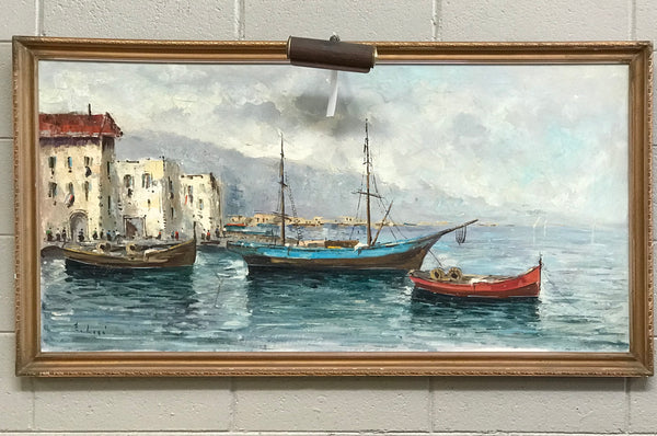Framed Painting of Harbor Scene w/ Light