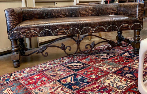 Long Iron Leather Bench w/ Iron Stretcher