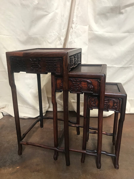 Nest of 3 Rosewood Chinese Tables