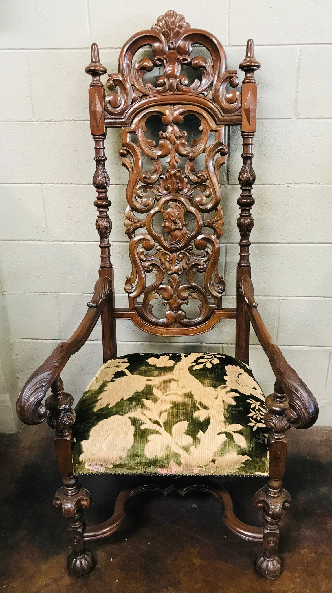 Heavily Carved Hall Chair