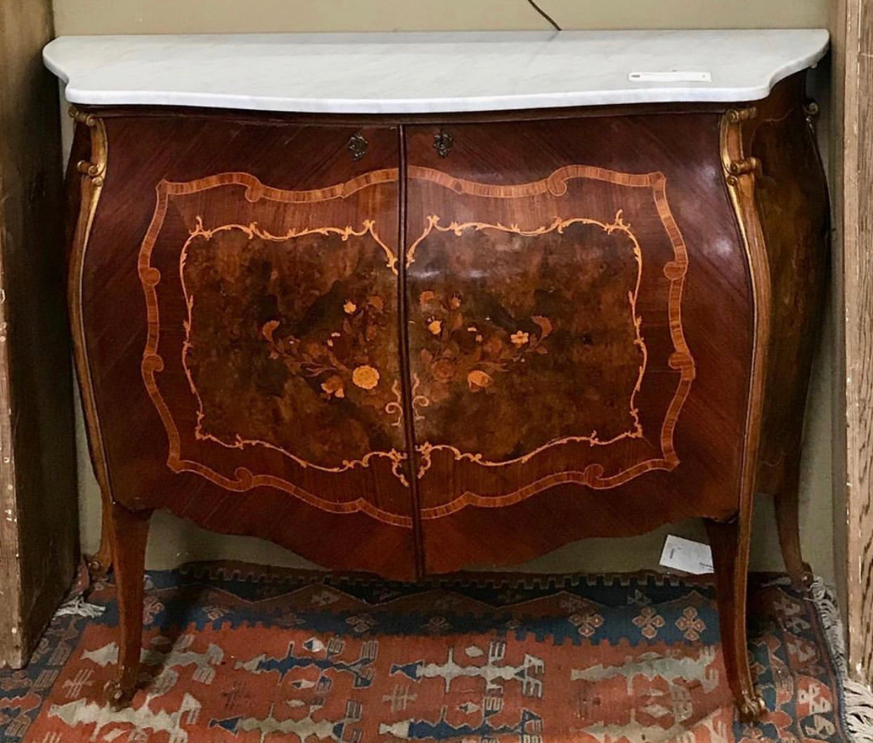 Marble Top Inlaid Bombe Style Cabinet