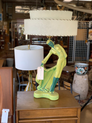 Pair of Mid-Century Modern Green Figural Table Lamps