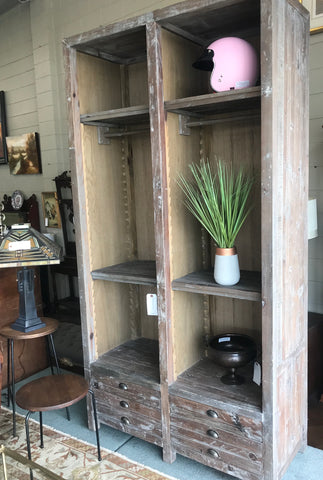 Large grey wash mud room cabinet