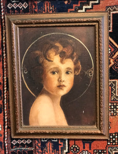 Antique Painting of Baby Jesus