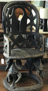 Unusual Tall Hand Carved African Throne Chair