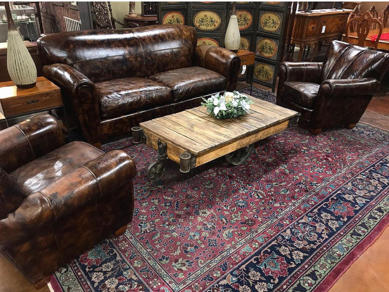 3pc leather sofa & 2 club chairs by Thomasville
