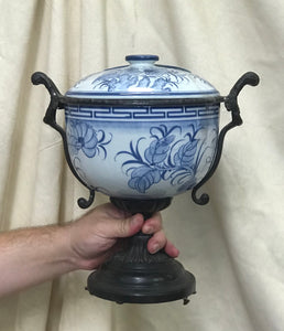 Lidded Bowl with Bronze Stand