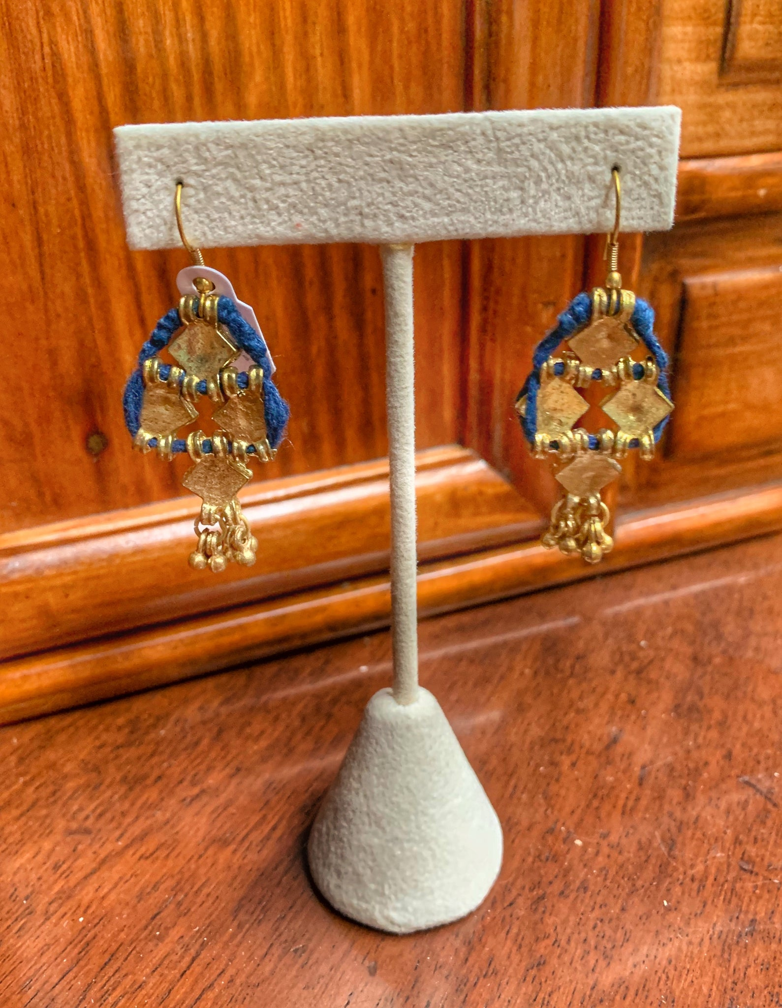 Izmir Brass and Cotton Cord Dangle Earrings
