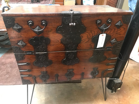 Antique iron bound Tansu cabinet on hair pin legs