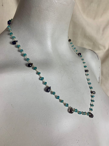 Apatite & Lolite Natural Mineral Beaded Necklace on Silk Cord