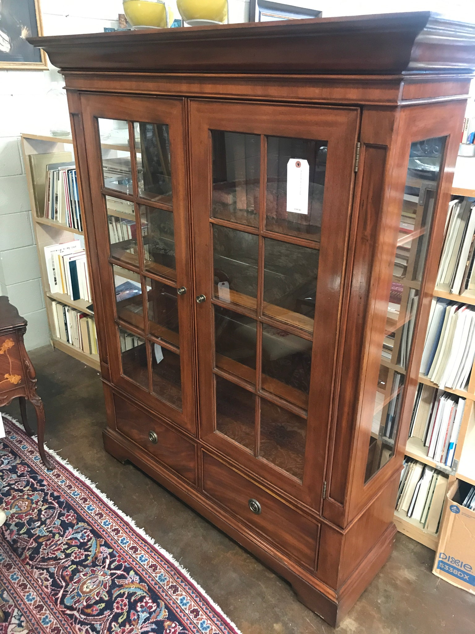 Walnut 2 door bookcase by Sligh