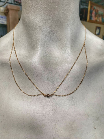 Gold Plate Double Swag Necklace