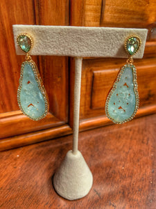 Carved Faux Jade and Crystal Drop Earrings