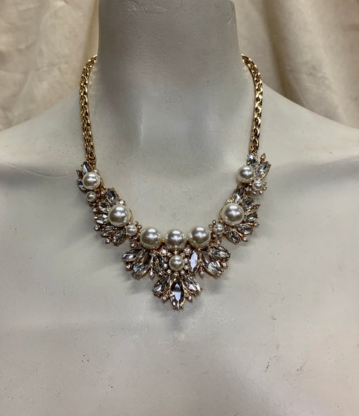 Faux Pearl and Crystal Gold Tone Drama Necklace