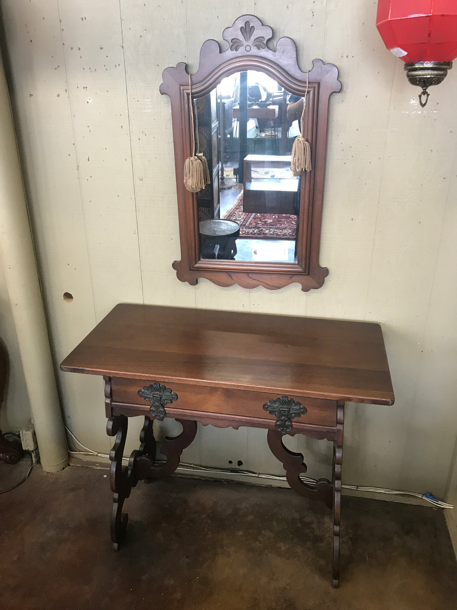 1920's Spanish style walnut console & mirror