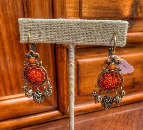 Carved Coral and Bronze Drop Earrings
