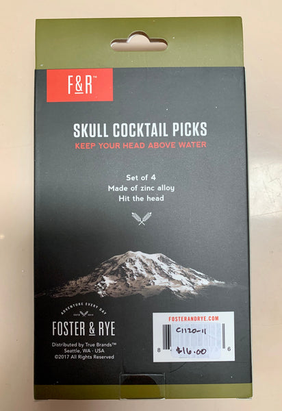Set of Four Pick Your Poison Skull Cocktail Picks
