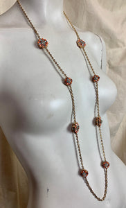 Long Chain Necklace with Coral and Crystal