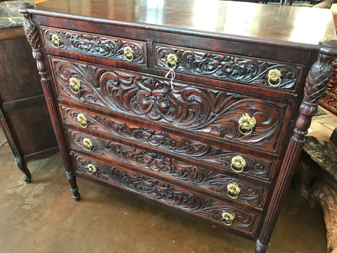 1900's highly carved mahogany 6 drawer chest of drawers