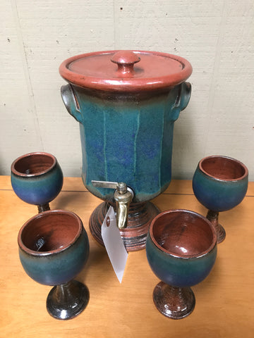 5 pc. Danish Pottery Beverage Dispenser