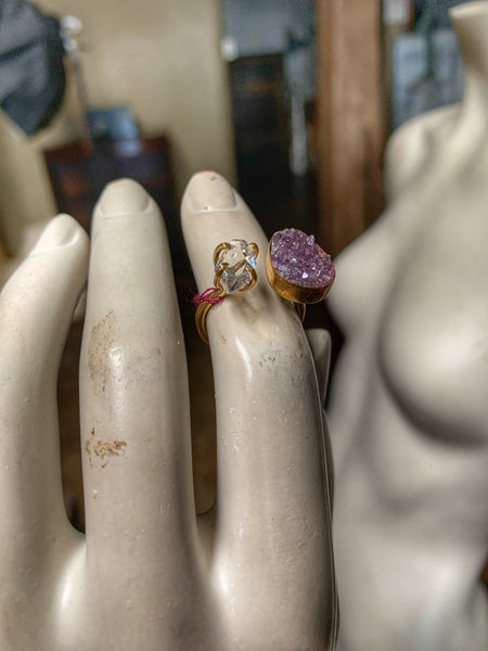 Amethyst and Herkimer Diamond Open Ring