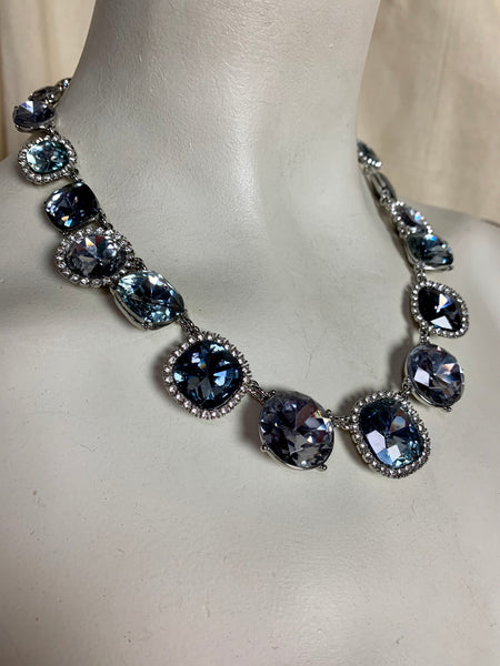 Vintage Style Blue Crystal Collar Necklace