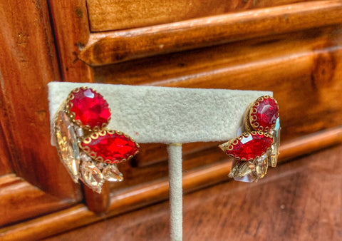 Handmade Red and Gold Vintage Style Crystal Earrings