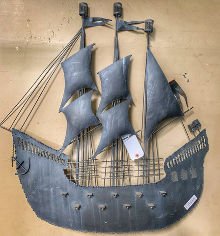 Kitschy Dimensional Metal Galleon Wall Hanging