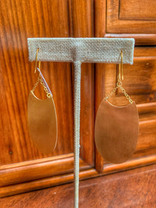 Brushed Brass Elliptical Earrings