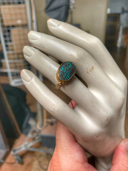 Natural Turquoise and Gold Plate Ring