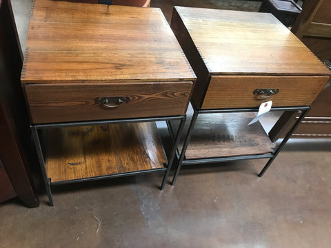 Pair of Chinese style Iron Base 1 Drawer End Tables