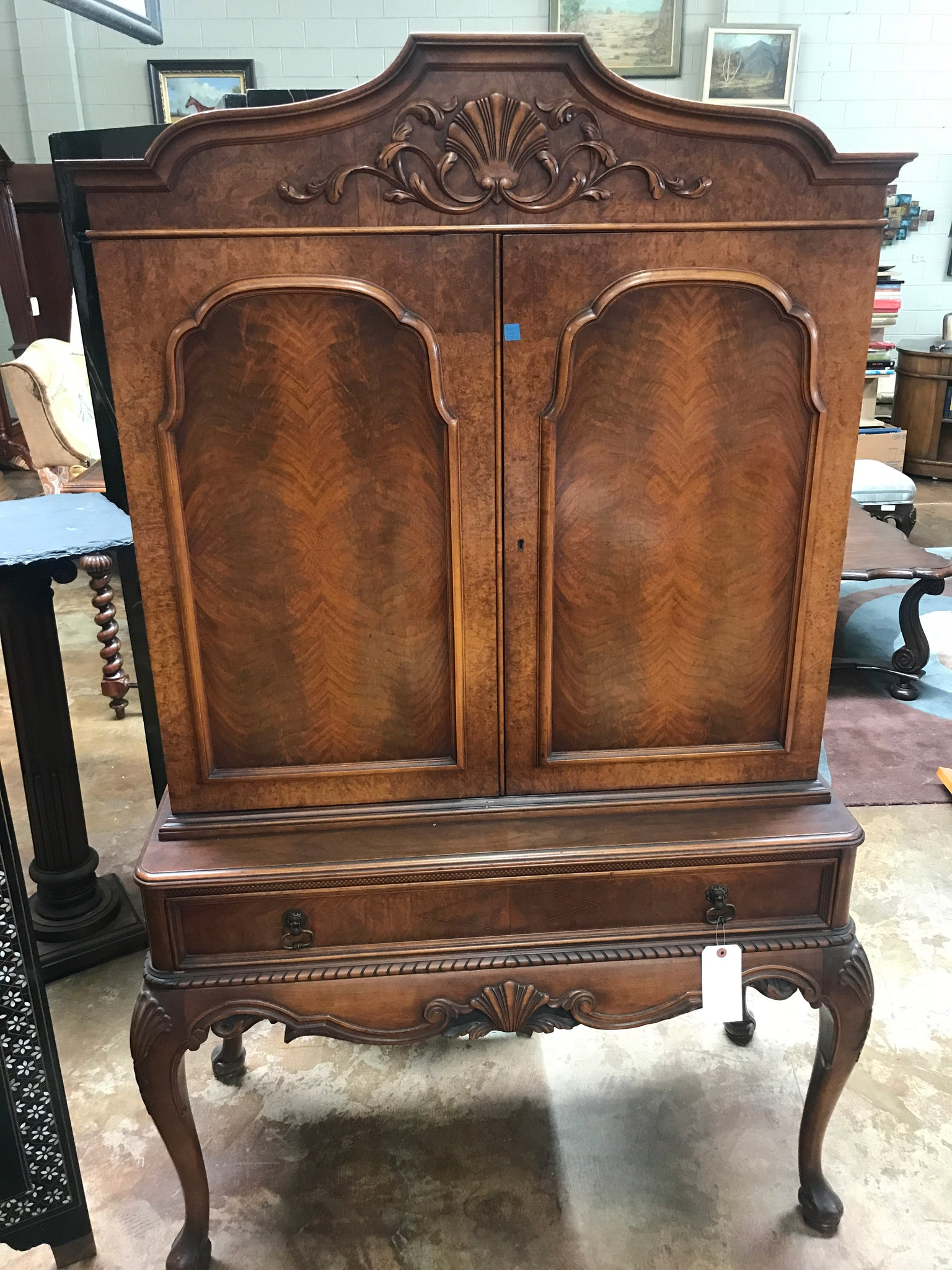 1920's carved & Inlaid walnut cabinet