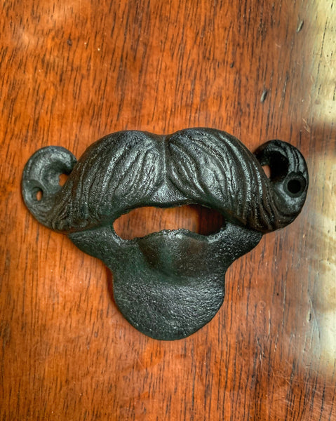 Cast Iron Black Wall Mount Beard Bottle Opener
