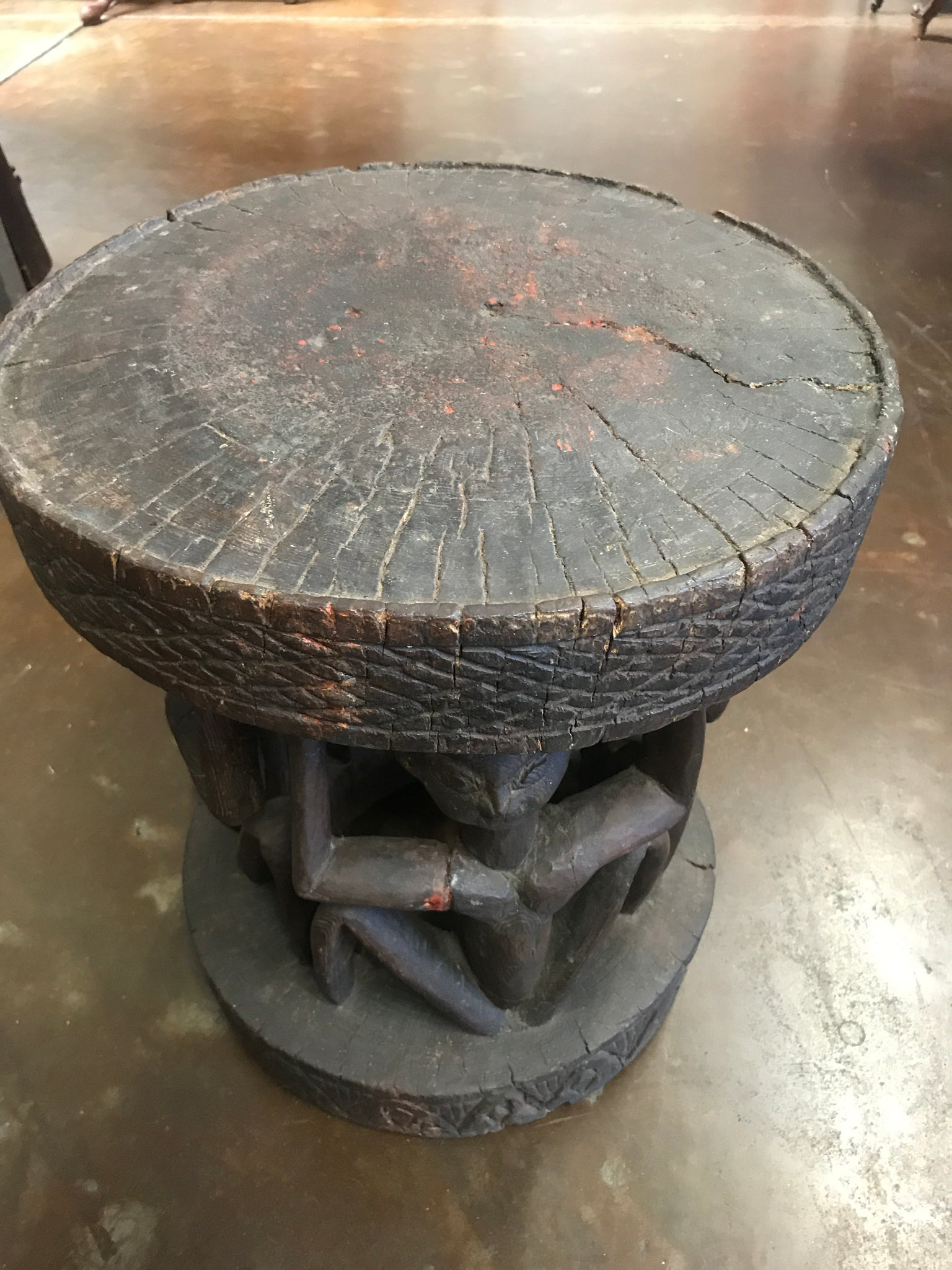 Heavily Carved African Stool