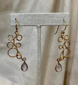Gold Vermeil and Rose Quartz Looped Dangle Earrings
