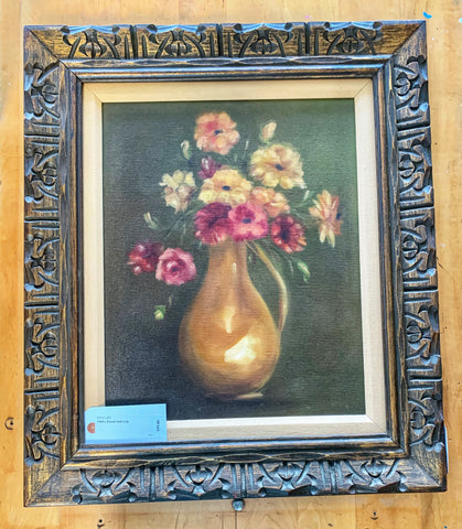 Vintage 1960's Floral Still Life Oil on Canvas
