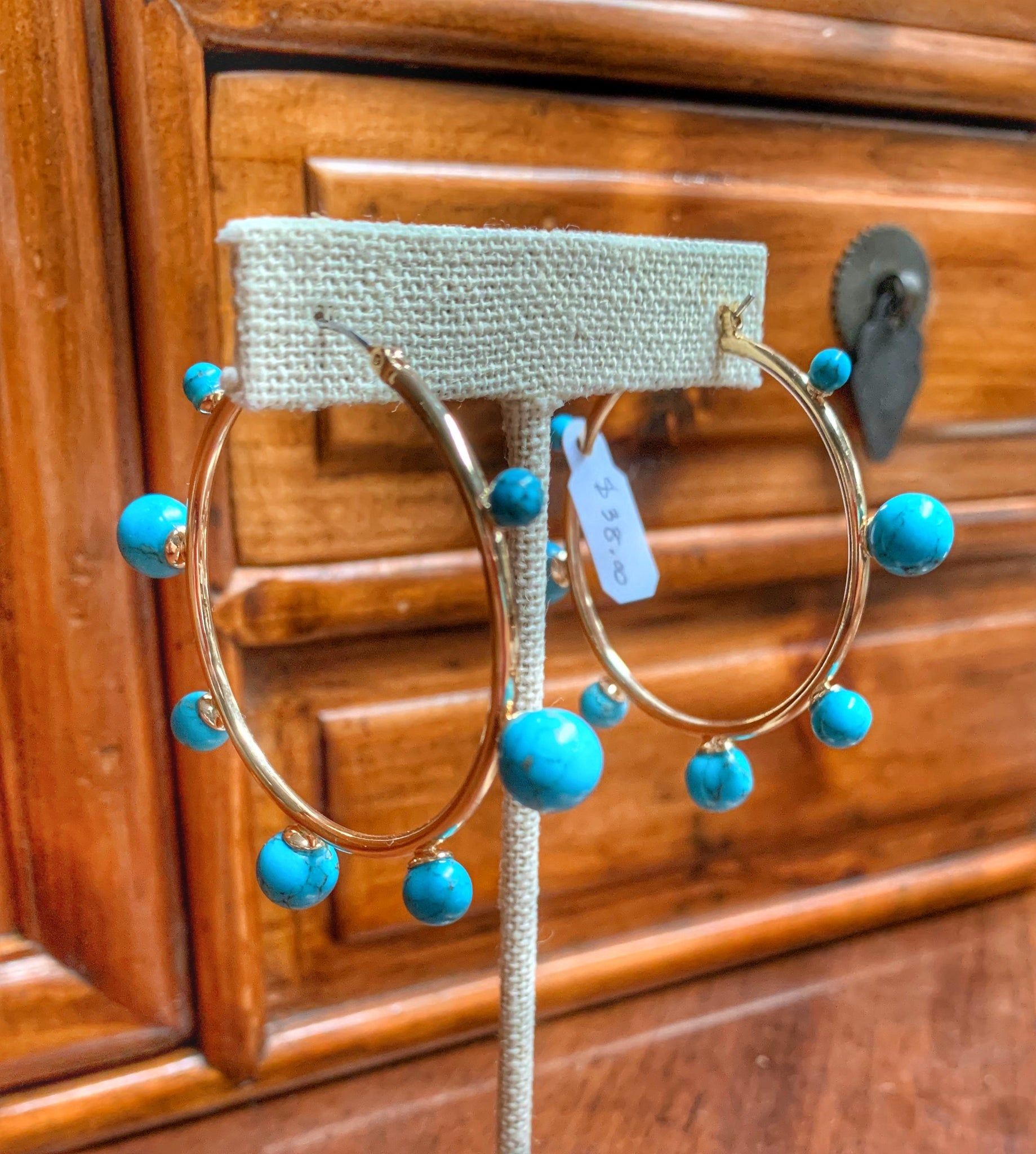 Gold Tone Hoops with Turquoise Orbs
