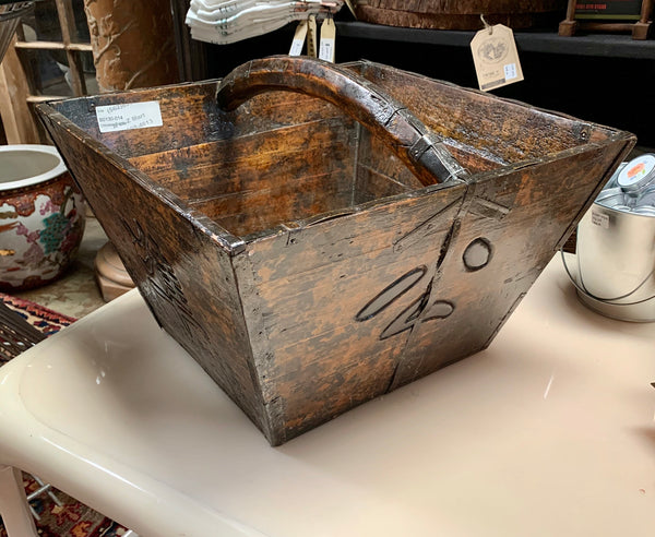 Vintage One of a Kind Square Asian Grain Bucket