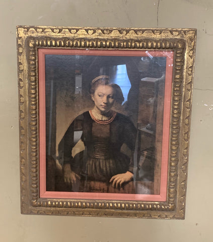 "Rembrandt ""Young Woman at an Open Half-Door"" Framed Textured Print"