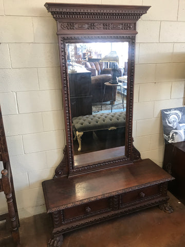 1900's clawfooted vanity & mirror
