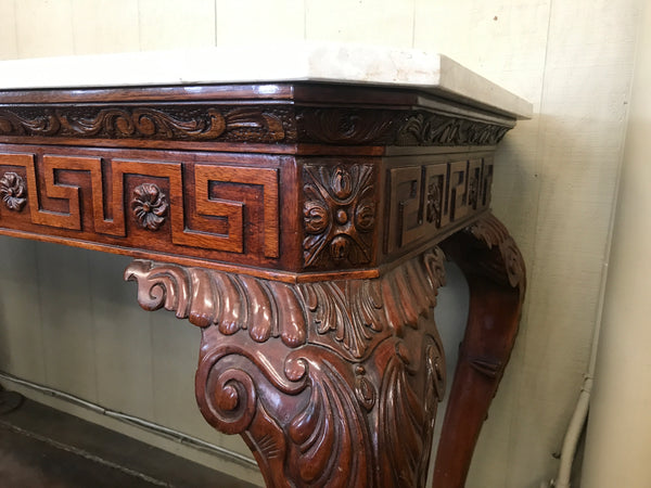 Carved Figural Mahogany Marble Top Table