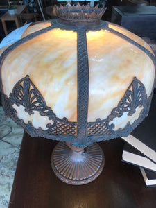 1920's slag glass table lamp