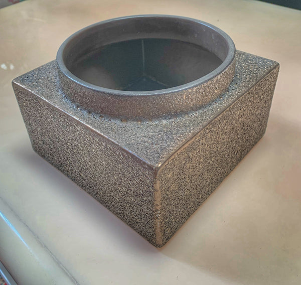 Square Bronze Finish Clay Planter