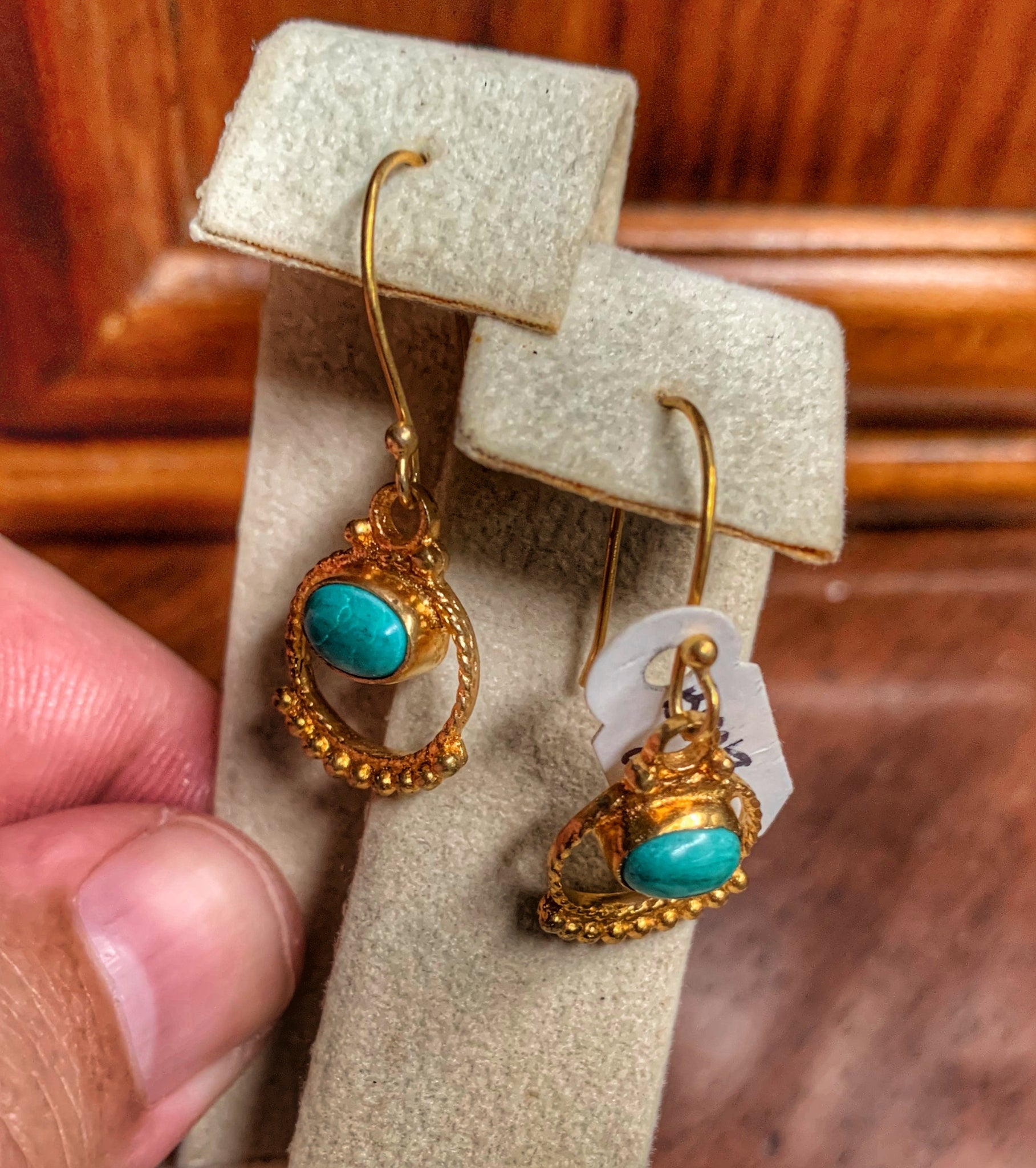 Tulum Turquoise and Gold Plate Earrings
