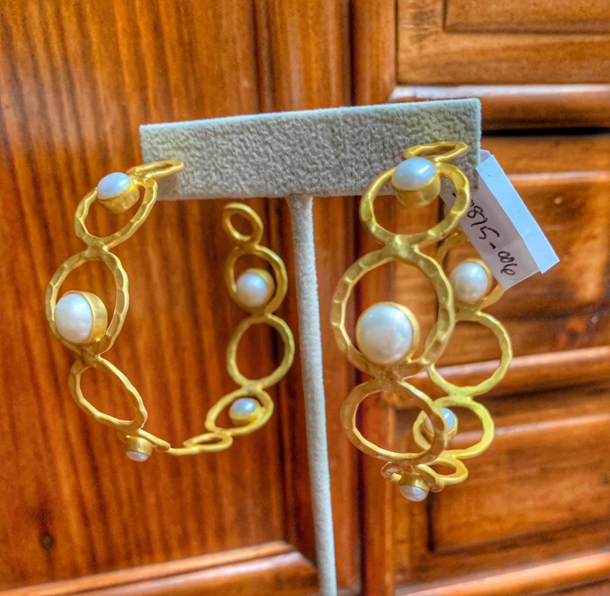 Amazing Gold Plated Circle Hoops with Pearl Cabochons