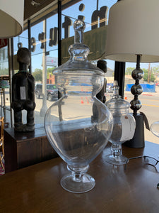 Large Glass Covered Candy Jar