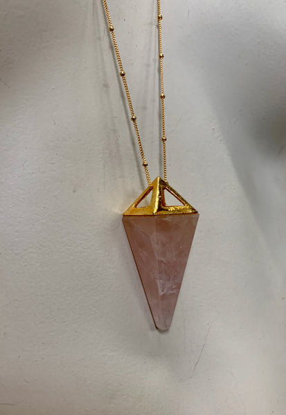 Crystal Pyramid Pendant Necklace