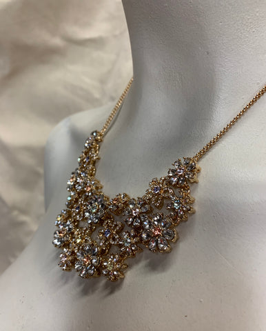 Gold Tone and Crystal Flower Garden Necklace
