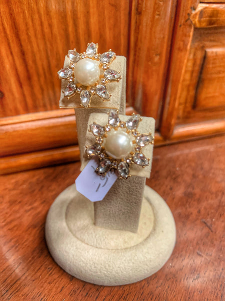 Faux Pearl and Crystal Flower Stud Earrings